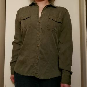 American Eagle Olive Green Button Up Shirt